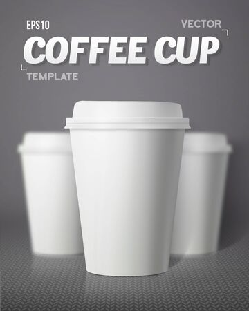 Illustration of Vector Coffee Cup Set with Blur Depth of Field Effect. Photorealistic 3D Vector  Paper Coffee Cup Mockup Set Illustration
