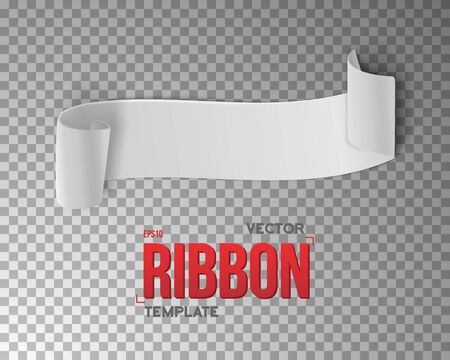 ps: Illustration of White Vector Ribbon Banner. 3D Realistic Vector Banner Isolated on PS Style Transparent Background. Blank Banner Template Illustration