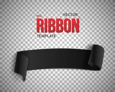 ps: Illustration of Black Ribbon Banner. 3D Realistic Banner Isolated on PS Style Transparent Background. Blank Banner Template Illustration