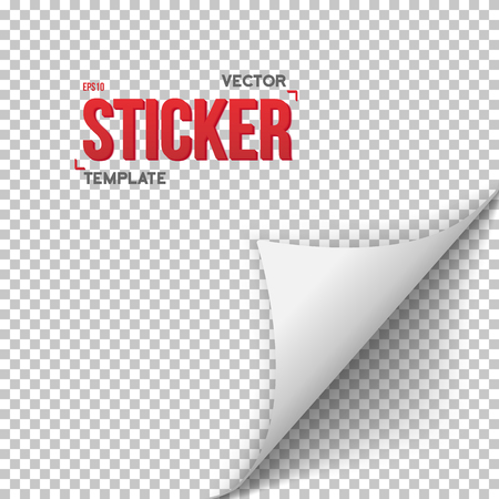Illustration of White Paper Sticker. Bender Page Sticker Template. Office Equipment Paper Bookmark Curl Sticker