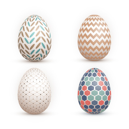 Illustration of Realistic 3D Happy Easter Painted Egg Set isolated on White Background Çizim