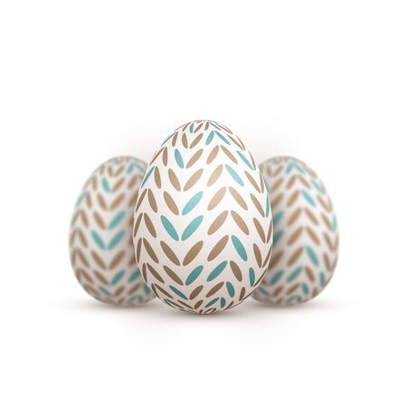 dof: Illustration of Realistic Easter Egg Set. Happy Easter Painted Egg Set with Ribbon and DOF Photography Effect