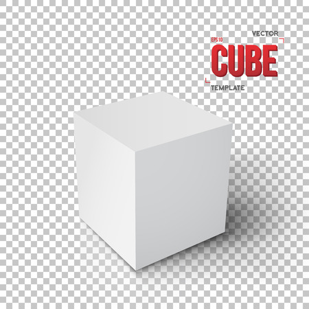ps: Illustration of Realistic Cube Template.Grey Paper Cube Isolated on Transparent PS Style Background Illustration