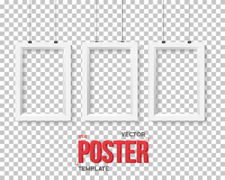 ps: Illustration of Poster Frame Mockup. Realistic  Paper Horisontal Poster Isolated on PS Style Transparent Background