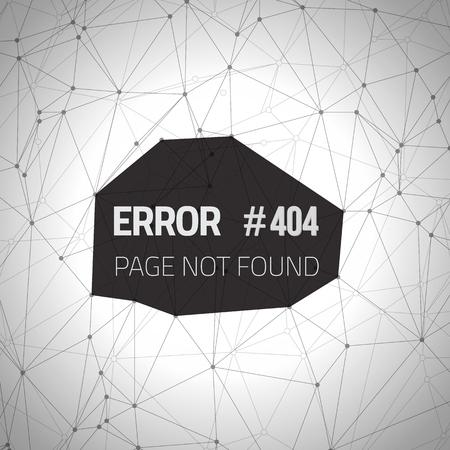 alert ribbon: Illustration of Error 404 Futuristic Wireframe Background. Page Not Found Polygonal Network Background Template Illustration