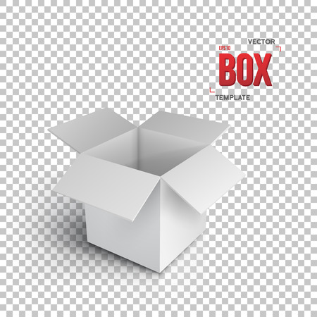 Illustration of Realistic Open Package Box. Paper Open Box Isolated on Transparent PS Style Background