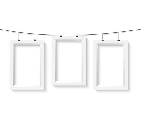 Illustration of Poster Frame Mockup Set. Realistic Paper Poster Set Isolated on White Background Çizim