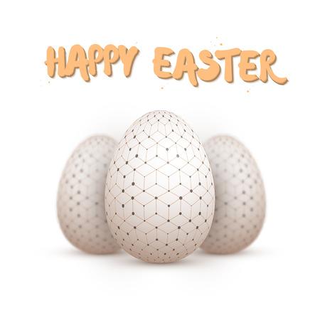 Illustratie van realistische Easter Egg Set. Gelukkig Pasen Painted Egg Set met scherptediepte fotografie-effect geïsoleerd op een witte achtergrond Vector Illustratie