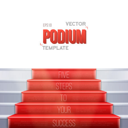 Illustration of Photorealistic Vector Stairs Podium with Red Carpet and Bright Luxury Event Background Isolated on White Background 向量圖像