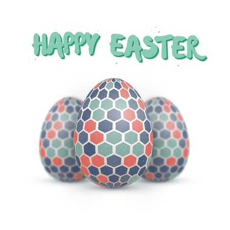 dof: Illustration of Realistic Easter Egg Set. Happy Easter Painted Egg Set with DOF Depth of Field Photography Effect Isolated on White Background