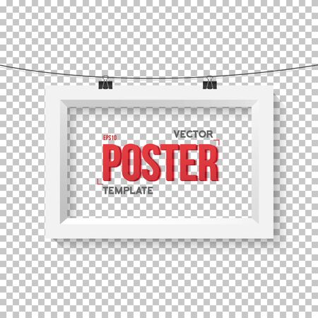 ps: Illustration of Poster Frame Mockup. Realistic Paper Horisontal Poster on Bended Wire Isolated on PS Style Transparent Background