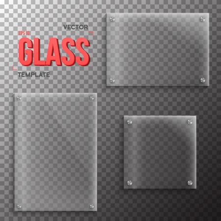 kunststoff: Illustration der Satz von Realistische Glas-Platten-Schablone. Kunststoff Platte getrennt auf Transparent PS-Stil Hintergrund