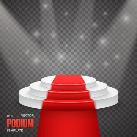 show bussiness: Illustration of Photorealistic Winner Podium Stage with Stage Lights and Red Carpet Isolated on Transparent PS Style Background