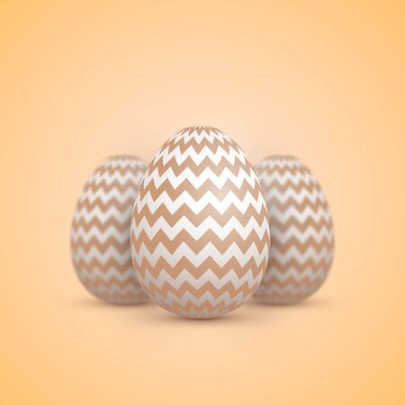 holiday background: Illustration of Realistic Easter Egg Icon. Painted Egg Set with Shallow Depth of Field Effect Illustration