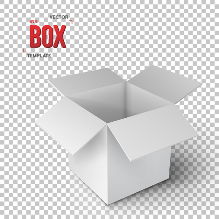ps: Illustration of Realistic Open Package Box. Paper Open Box Isolated on Transparent PS Style Background