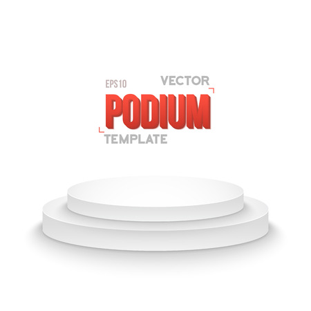 product placement: Illustration of Photorealistic Winner Podium Stage Template. Speaker Podium Stage Isolated on White Background for Product Placement, Presentations, Contest.