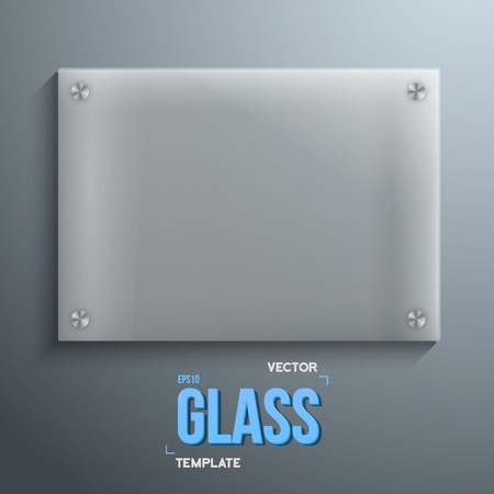shiny metal background: Illustration of Realistic Glass Plate Template Icon. Plastic Plate Horisontal Frame