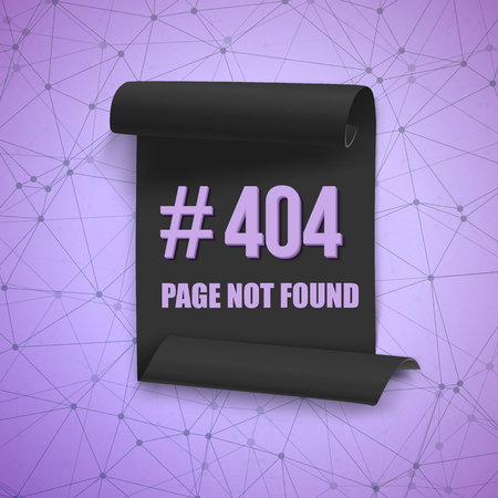 alert ribbon: Illustration of Error 404 Futuristic Wireframe Vector Banner. Page Not Found Polygonal Network Background with Folded Paper Scroll Template