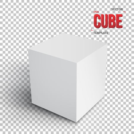 Illustration Of Realistic Cube TemplateGrey Paper Cube Isolated