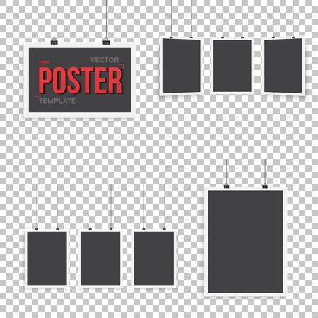 ps: Illustration of Isolated Vector Poster Mockup Set. Realistic Set Paper Posters Isolated on Transparent PS Style Background