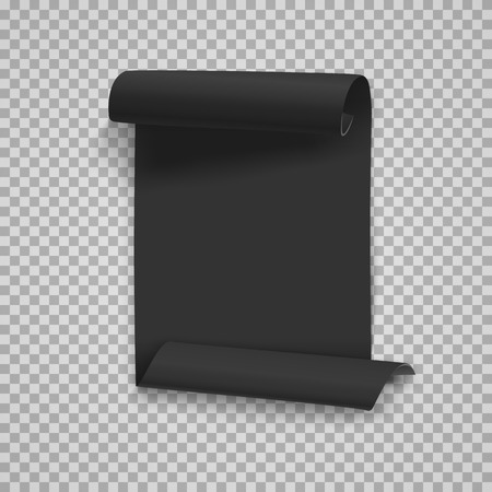 Illustration of Vector Folded Black Paper Sheet Template. Realistic Rolled Page Document Isolated on Transparent PS Style Background Illustration