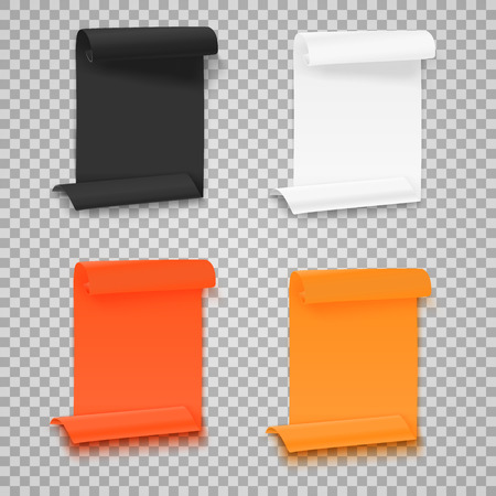 ps: Illustration of Set of Folded Paper Sheets Template. Realistic Rolled Page Document Mockup Set Isolated on Transparent PS Style Background