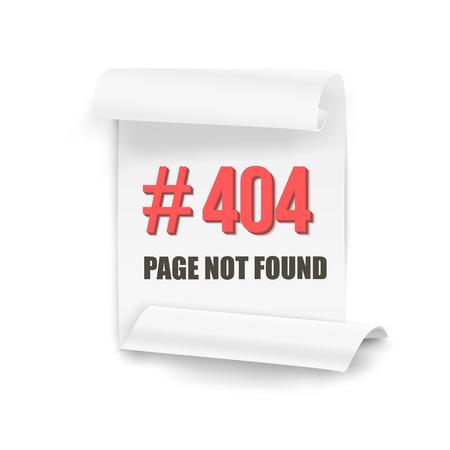 alert ribbon: Illustration of Error 404 Folded Paper Banner
