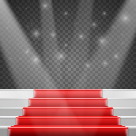 Illustration of Photorealistic Stairs Podium with Red Carpet and Bright Luxury Event Background Isolated on Transparent PS Style Background Illustration