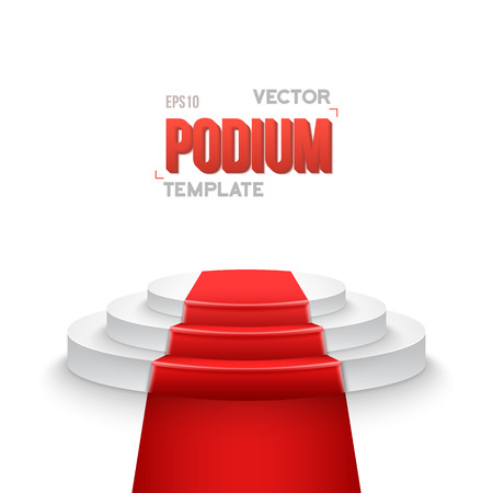 show bussiness: Illustration of Photorealistic Winner Podium Stage with Stage Lights and Red Carpet Isolated on White Background. Used for Product Placement, Presentations, Contests