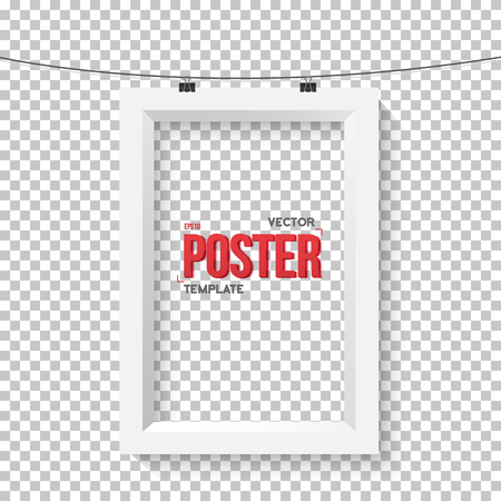 ps: Illustration of Vector Poster Frame Mockup. Realistic Vector EPS10 Paper Vertical Poster on Bended Wire Isolated on PS Style Transparent Background