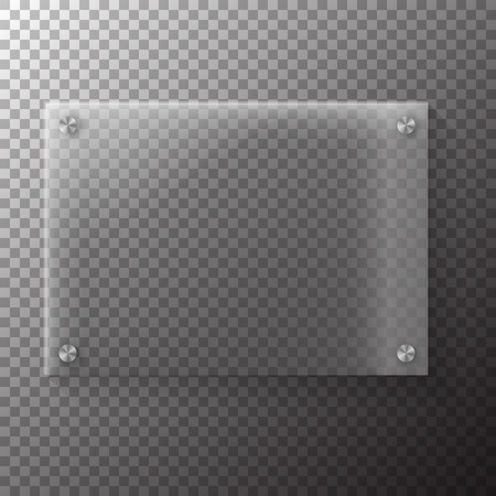 shiny metal background: Illustration of Realistic Glass Plate Template Icon.