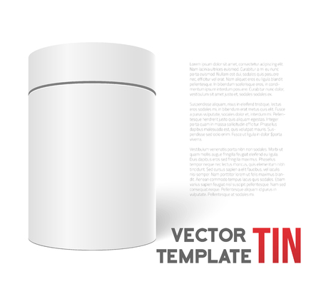 pillar box: Illustration of White 3D Tea Box Cylinder Isolated on White Background. Tea Cofee Can Template for your Store