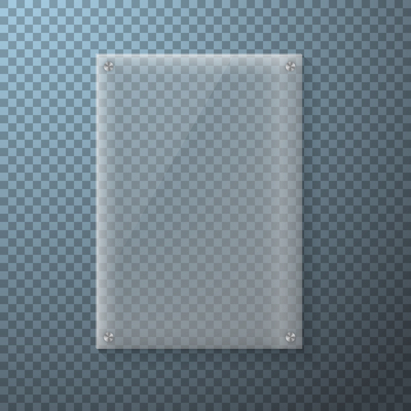 ps: Illustration of Realistic Glass Plate Template Icon. Vertical Plastic Frame Isolated on Transparent PS Style Background