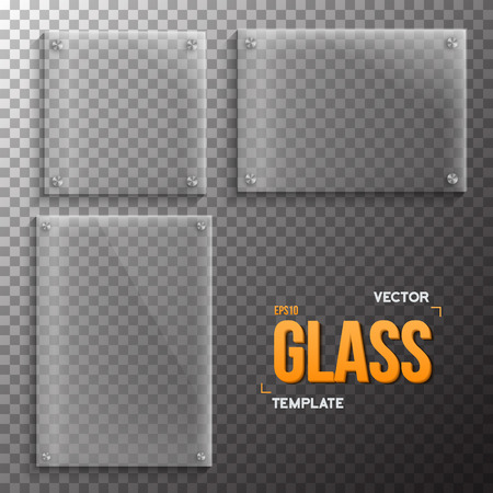 ps: Illustration of Set of Realistic Glass Frame Template. Plastic Plate Set Isolated on Transparent PS Style Background