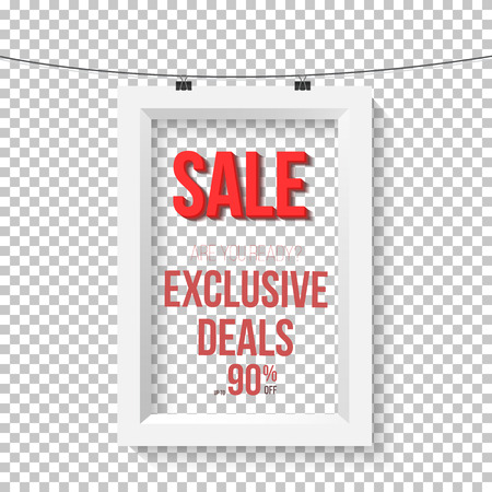 Illustration of Big Sale Poster Wall Frame Mockup. Realistic  Paper Sale Poster Isolated on Transparent PS Style Background