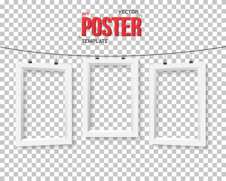 Illustration of Poster Frame Mockup. Realistic Paper Poster Set on Bended Wire Isolated on PS Style Transparent Background Illustration