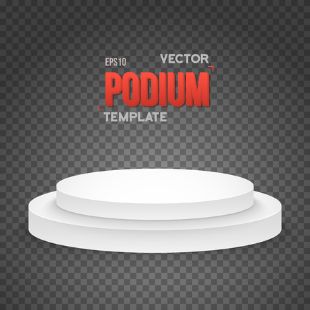show bussiness: Illustration of Photorealistic Winner Podium Stage Template. Speaker Podium Stage Isolated on Transparent PS Style Background for Product Placement, Presentations, Contest. Illustration