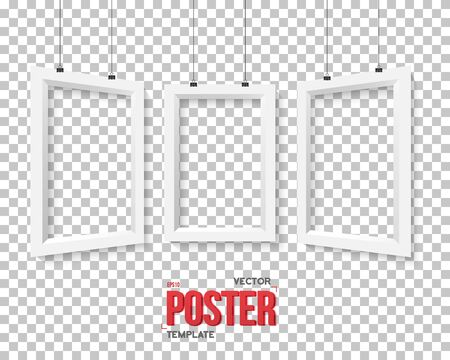 ps: Illustration of Poster Frame Mockup Set. Realistic  Paper Poster Set Isolated on PS Style Transparent Background Illustration
