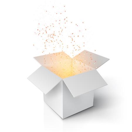 Ilustración de realista mágica caja abierta. Magic Box gris con confeti y Magic Light. Mágica caja de regalo aislado en el fondo blanco