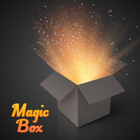 Illustratie van Grijze Magische Doos Met Confetti En Magic Light. Realistische Magic Open Box. Magic Gift Box met Magic Light Comming van binnen Stock Illustratie