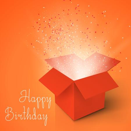 Illustration of Happy Birthday Realistic Magic Open Box. Magic Box with Confetti and Magic Light. Magic Gift Box with Magic Light Comming from Inside