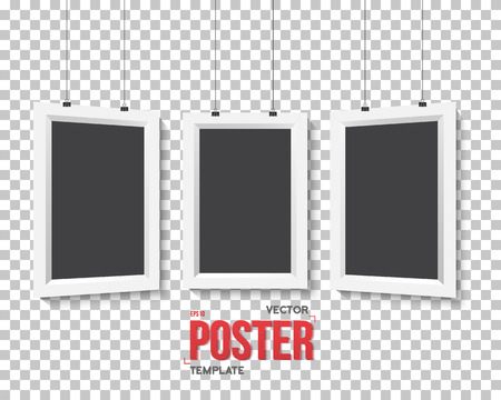 ps: Illustration of Vector Poster Frame Mockup Set. Realistic Paper Poster Set Isolated on PS Style Transparent Background Illustration