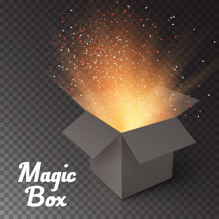 magic box: Illustration of Magic Box with Confetti and Magic Light. Realistic Magic Open Box. Magic Gift Box with Magic Light Comming from Inside Isolated on Transparent Overlay Background
