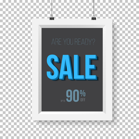 ps: Illustration of Big Sale Poster Vector Wall Frame Mockup. Realistic  Paper Sale Poster Isolated on Transparent PS Style Background