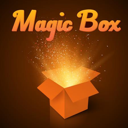 magic box: Illustration of Magic Box with Confetti and Magic Light. Realistic Magic Open Box. Magic Gift Box with Magic Light Comming from Inside