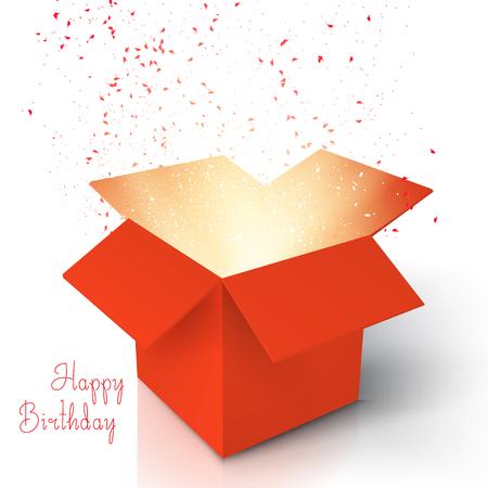 Illustration de joyeux anniversaire réaliste magique Open Box. Magic Box avec Confetti et Magic Light. Coffret cadeau magique avec Magic Light Comming de l'intérieur, isolé, sur fond blanc