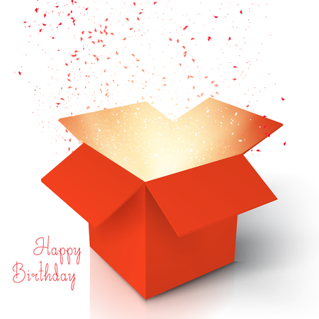 Illustration of Happy Birthday Realistic Magic Open Box. Magic Box with Confetti and Magic Light. Magic Gift Box with Magic Light Comming from Inside Isolated on White Background Illustration