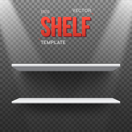 empty shelf: Illustration of Realistic Shelf With Transparent Lights. Empty Shelf for Store, Exhibitions, Shows. Shelf on Wall. Realistic Shelf on Transparent Overlay Background