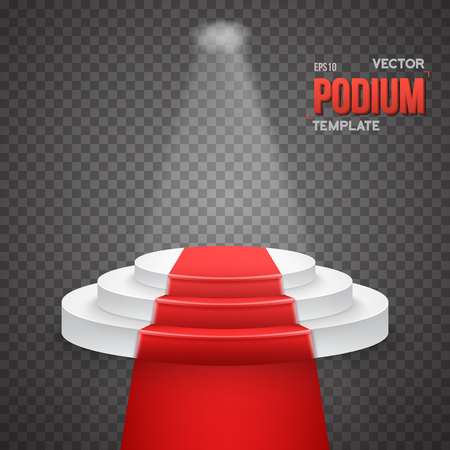 stage lights: Illustration of Illustration of Photorealistic Winner Podium Stage with Stage Lights and Red Carpet Isolated on Transparent Overlay Background. Used for Product Placement, Presentations, Contests Illustration