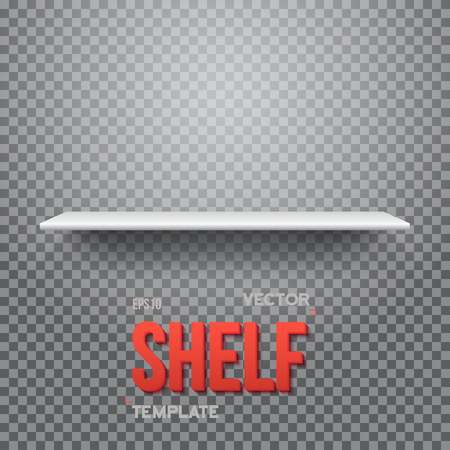 empty shelf: Illustration of Realistic Shelf. Empty Shelf for Store, Exhibitions, Shows. Shelf on Wall. Realistic Shelf on Transparent Overlay Background